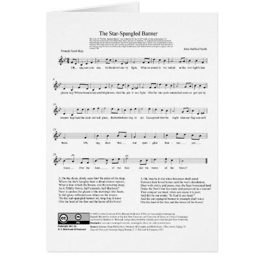 Folha de música do hino nacional de bandeira star  cartao