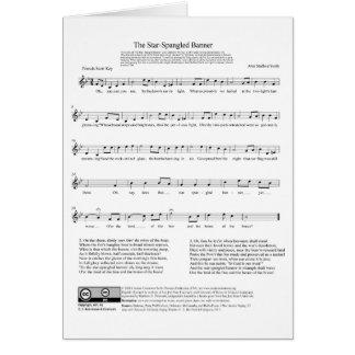 Folha de música do hino nacional de bandeira star  cartão comemorativo
