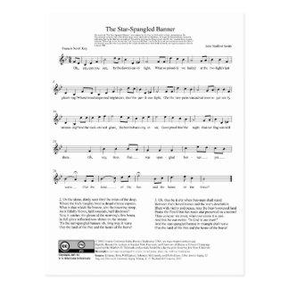 Folha de música do hino nacional de bandeira star cartão postal