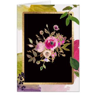 Folha de ouro, buquê floral, cartão vazio