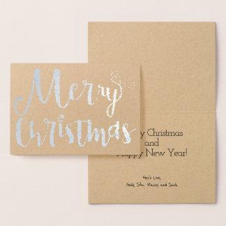 Folha de ouro da tipografia do feriado da estrela cartão metalizado