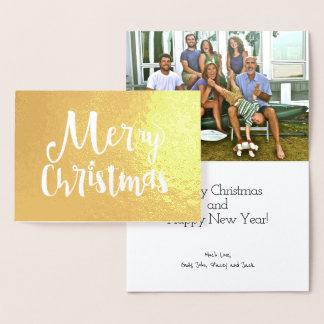 Folha de ouro da tipografia do feriado do Feliz Cartão Metalizado