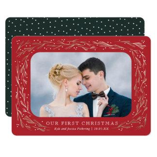 Folha de ouro do falso do cartão de Natal do