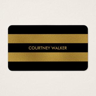 Folha de ouro elegante e cartões de visitas pretos