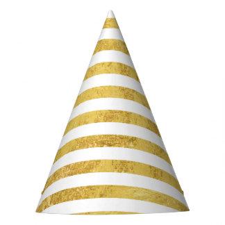 Folha de ouro elegante e teste padrão branco da chapéu de festa