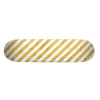 Folha de ouro elegante e teste padrão branco da shape de skate 18,7cm