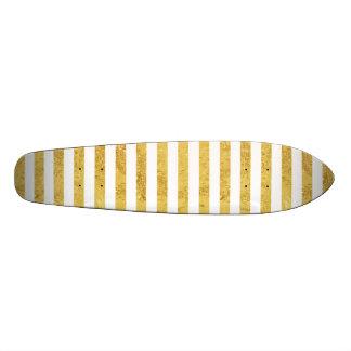 Folha de ouro elegante e teste padrão branco da shape de skate 21,6cm