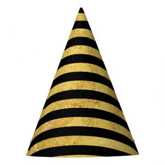 Folha de ouro elegante e teste padrão preto da chapéu de festa