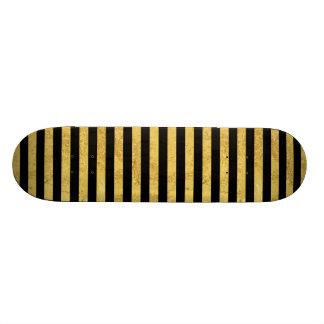 Folha de ouro elegante e teste padrão preto da shape de skate 18,4cm