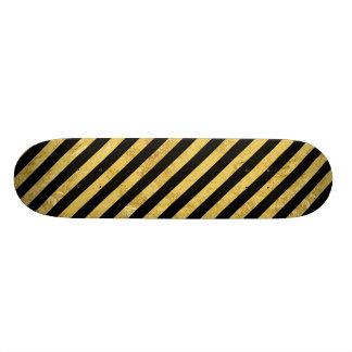 Folha de ouro elegante e teste padrão preto da shape de skate 21,6cm