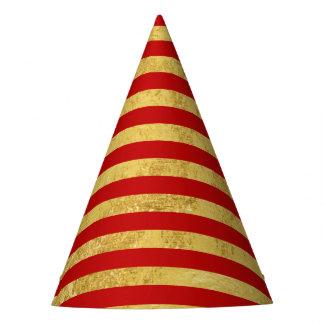 Folha de ouro elegante e teste padrão vermelho da chapéu de festa