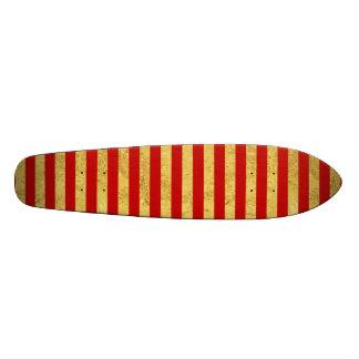 Folha de ouro elegante e teste padrão vermelho da shape de skate 18,7cm