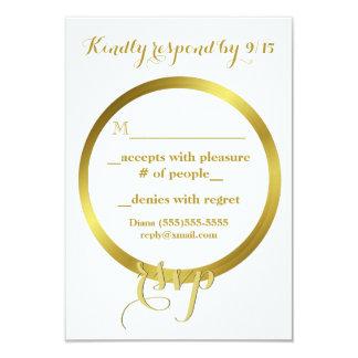 Folha de ouro elegante moderna que Wedding RSVP Convite 8.89 X 12.7cm
