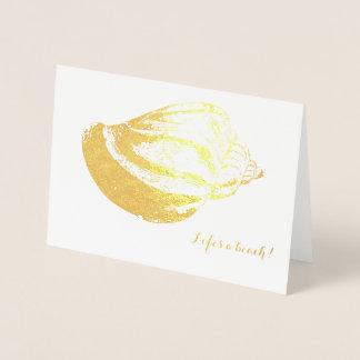 Folha de ouro Shell dos cartões de agradecimentos