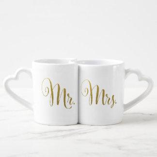 Folha de ouro sua e dela Sr. Sra. Tipografia Amor Caneca Para Namorada