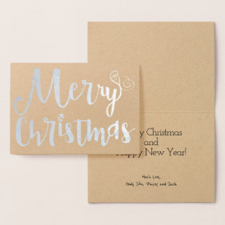 Folha de prata da tipografia do feriado do Feliz Cartão Metalizado