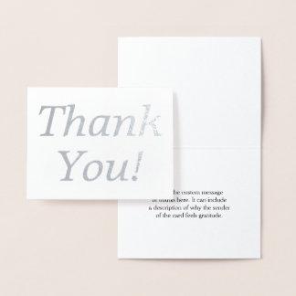 """Folha de prata mínima """"obrigado você!"""" Cartão"""