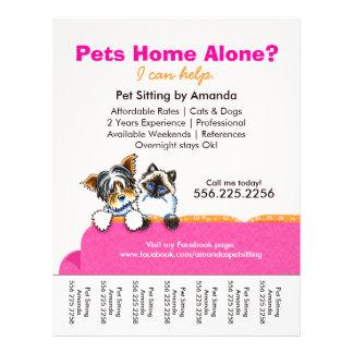 Folha de rasgo do rosa do sofá do gato de Yorkie d Panfleto Personalizados