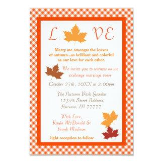 Folha do amor do outono - convite do casamento 3x5