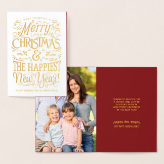 Folha do feriado da tipografia do quadro do Feliz Cartão Metalizado