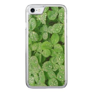 Folha do verde do orvalho da chuva da mola de capa iPhone 7 carved