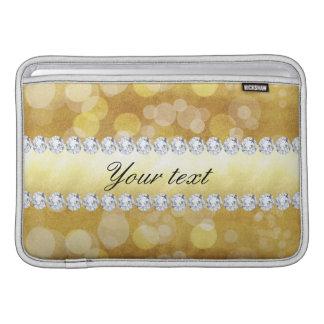 Folha e diamantes bonitos de Bokeh do ouro Bolsas De MacBook Air