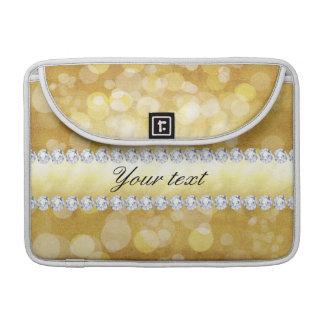 Folha e diamantes bonitos de Bokeh do ouro Bolsas Para MacBook Pro