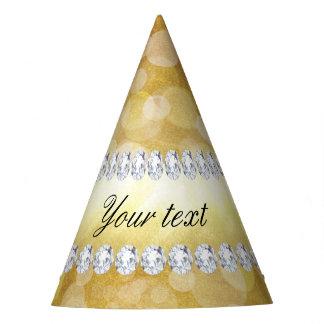Folha e diamantes bonitos de Bokeh do ouro Chapéu De Festa