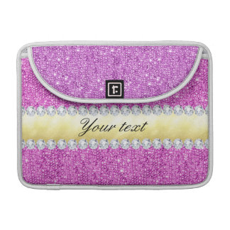 Folha e diamantes roxos de ouro dos Sequins Bolsas MacBook Pro