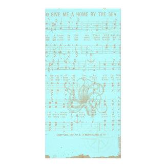 Folha musical náutica da cerceta do vintage cartão com foto personalizado