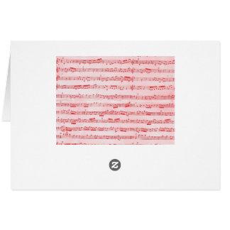 Folha musical vermelha do vintage cartão de nota