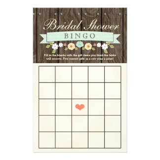 Folha nupcial rústica do Bingo do chá de casamento Flyer