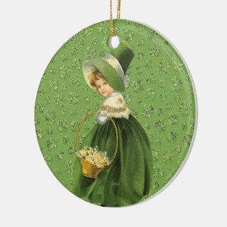Folha Ornamnet do trevo do dia de St Patrick Ornamento De Cerâmica Redondo
