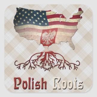 Folha polonesa da etiqueta das raizes do americano