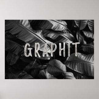 Folha preta & branca de Graphit da banana Pôster
