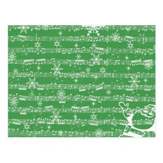 Folha verde do Musical do Natal do vintage Cartão Postal