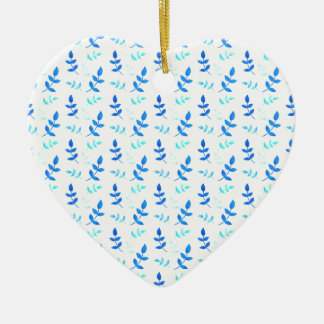 Folhas Azuis - Blue Leaves Ornamento De Cerâmica Coração