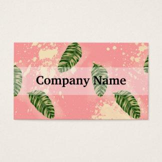 Folhas botânicas no fundo cor-de-rosa cartão de visitas