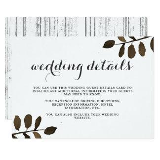 Folhas botânicas rústicas que Wedding o cartão de