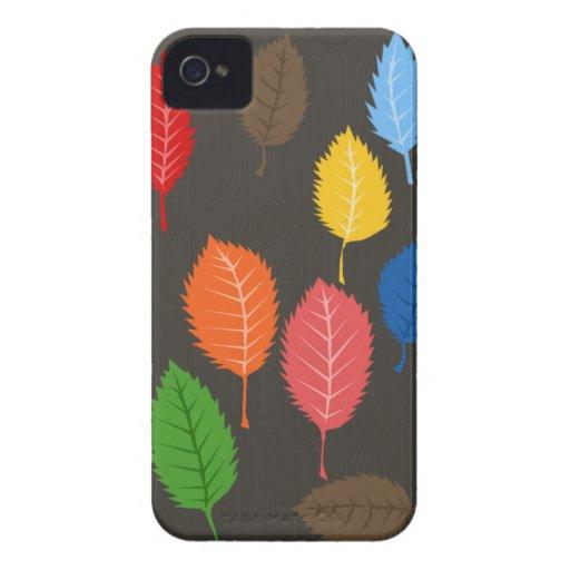 folhas coloridas no woodgrain capinha iPhone 4