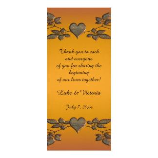 Folhas & corações alaranjados do bronze do por do 10.16 x 22.86cm panfleto