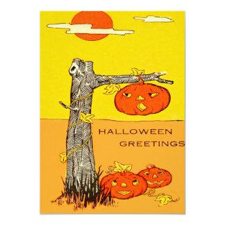 Folhas da árvore da abóbora da lanterna de Jack O Convite 12.7 X 17.78cm