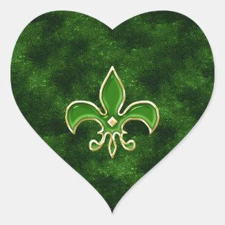 Folhas da etiqueta do coração da flor de lis do adesivo coração