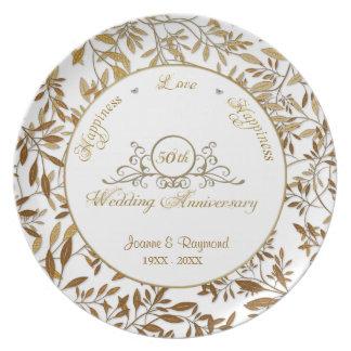 Folhas da placa do aniversário de casamento do prato de festa