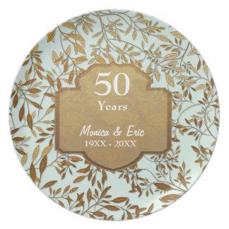 Folhas da placa do aniversário de casamento do pratos