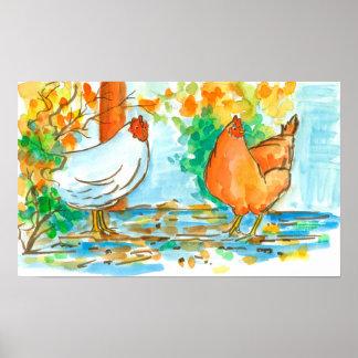 Folhas da queda das galinhas da galinha da pôster