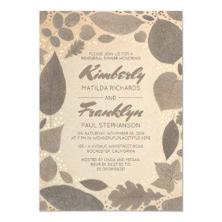 Folhas da queda e jantar de ensaio dos confetes do convite 12.7 x 17.78cm