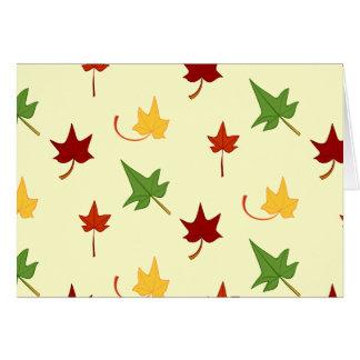 Cartão Folhas da queda: Folhas coloridos, cartão de nota