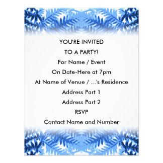 Folhas da samambaia design em azul e em branco convite personalizados