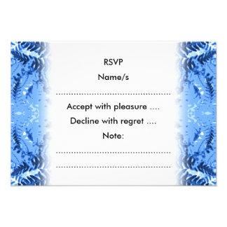 Folhas da samambaia design em azul e em branco convite personalizado